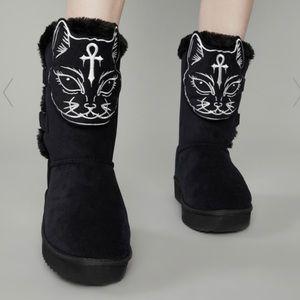 Dolls Kill cat ankh booties slippers size 10!!